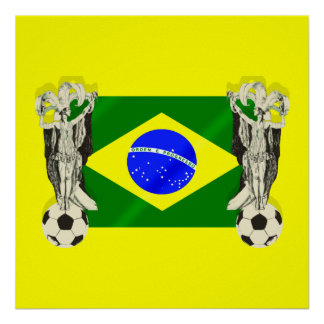 Samba football futebol fans 2010 Brazil flag gifts Poster