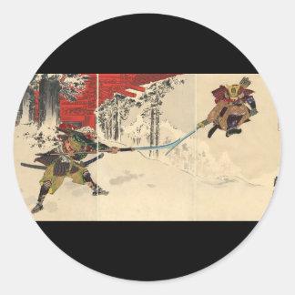 Samurai combat in the snow circa 1890 round sticker