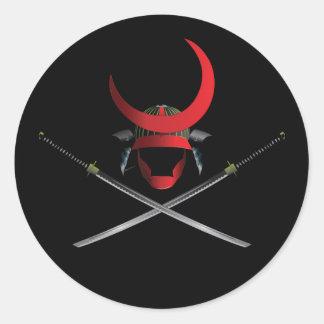 Samurai Helmet and Swords Round Sticker