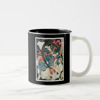 Samurai Killing a Demon, Ancient Japanese Painting Two-Tone Mug