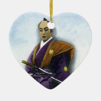 Samurai VIntage Japanese 侍 Ceramic Heart Decoration