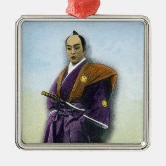 Samurai VIntage Japanese 侍 Silver-Colored Square Decoration