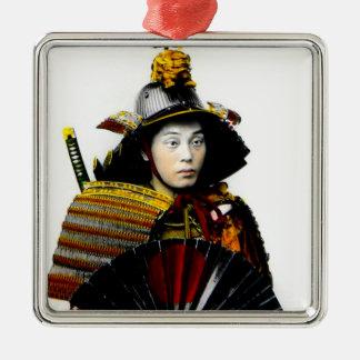 Samurai Warrior of Old Japan Vintage Warrior 侍 Silver-Colored Square Decoration