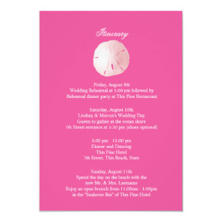 Sand Dollar Pink Wedding Intinerary 13 Cm X 18 Cm Invitation Card