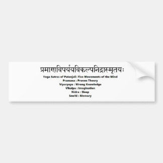 sanskrit mantra: Yoga Sutras of Patanjali Bumper Sticker