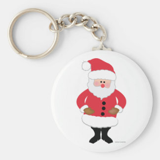 Santa Basic Round Button Key Ring