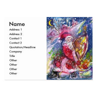 SANTA CLAUS PLAYING HARP IN THE MOONLIGHT PACK OF CHUBBY BUSINESS CARDS