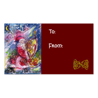 SANTA CLAUS PLAYING HARP IN THE MOONLIGHT PACK OF STANDARD BUSINESS CARDS