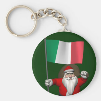 Santa Claus With Ensign Of Italy Basic Round Button Key Ring