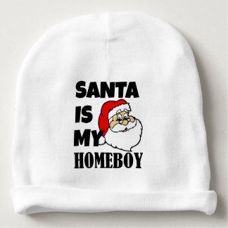 Santa is my homeboy funny baby boy bib baby beanie