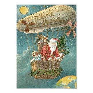 Santa Presents Gifts Christmas Tree Balloon 13 Cm X 18 Cm Invitation Card