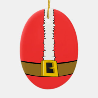 Santa Suit Belly Oval Ornament