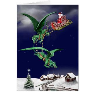 Santas Dragon Sleigh Greeting Card