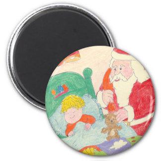 Santa's Visit 6 Cm Round Magnet