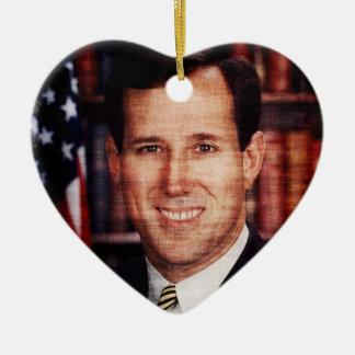Santorum Portrait Art Photo Ceramic Heart Decoration