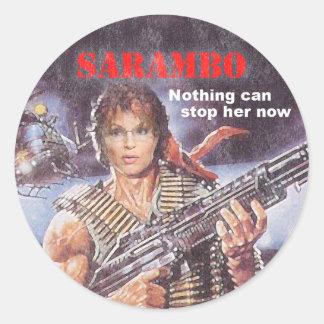 sarambo, sara, palin, rambo, john, j, sly, john, m round sticker