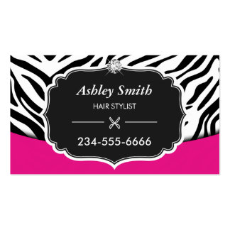Sassy Pink Zebra Print Hair Stylist Appointment Pack Of Standard Business Cards