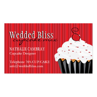 Sassy Red and Black Cupcake Business Card