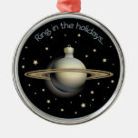 Saturn - Ring in the holidays Silver-Colored Round Decoration