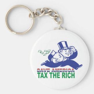 Save America/ Tax the Rich Basic Round Button Key Ring