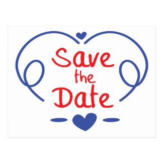 Save The Date Red & Blue Hearts Engagement Wedding Postcard