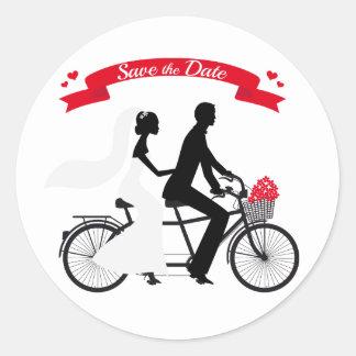 Save the date, wedding invitation tandem bicycle round sticker