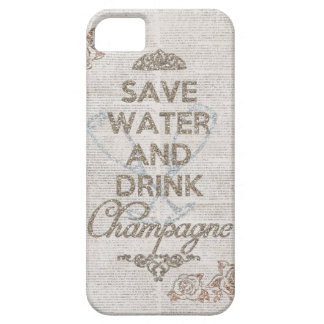 Save Water And Drink Champagne Shabby Glitter Case