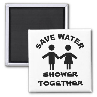 Save water shower together fridge magnets