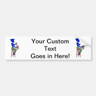sax female sitting player abstract blue.png bumper sticker