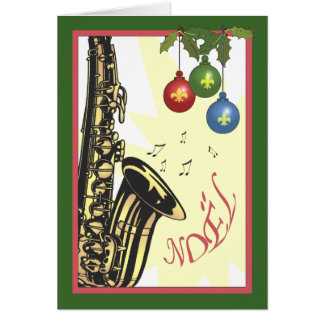 Saxophone New Orleans Jazz Christmas Greeting Card
