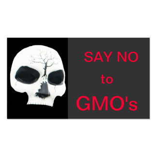 say no to gmo's - skull pack of standard business cards