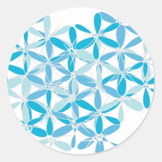 Scatter Blue Pattern Round Sticker