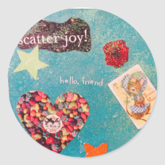 Scatter Joy! Glitter Collage Decorates Things Round Sticker