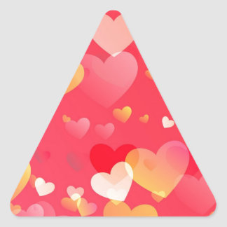 Scattered Red Yellow Hearts Pattern Triangle Sticker