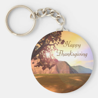 Scenic Happy Thanksgiving Basic Round Button Key Ring