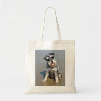 Schnauzer miniature dog cute photo at the beach budget tote bag