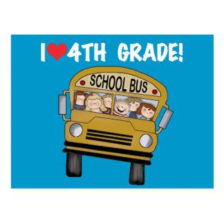School Bus I Love 4th Grade Postcard