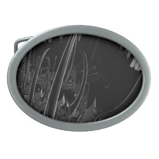 Sci Fi Fractal in black and gray Oval Belt Buckle