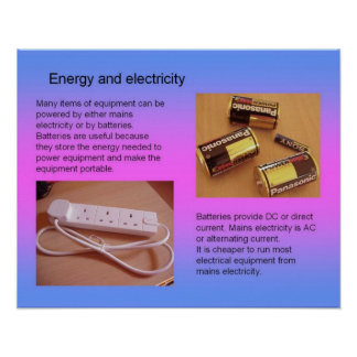 Science, Electricity Energy and electricity Poster