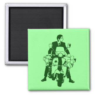 Scooter Rider 2010 green Square Magnet