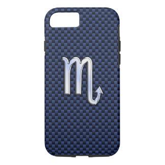 Scorpio Zodiac Symbol navy blue carbon fiber style iPhone 7 Case