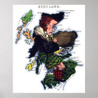 Scotland Caricature Map Poster