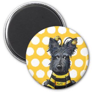 Scottie Dog Bee 6 Cm Round Magnet