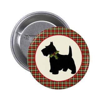 Scottie Dog Scotch Plaid Christmas 6 Cm Round Badge