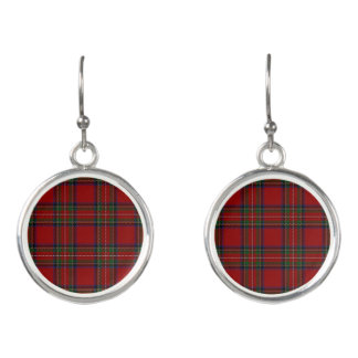 Scottish Clan Stewart Royal Red Tartan Plaid Earrings