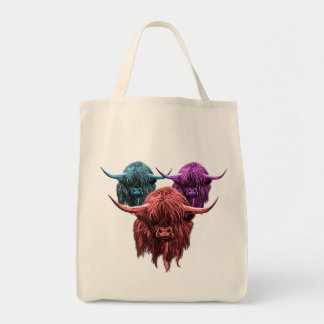 Scottish Highland Cow Grocery Tote Bag