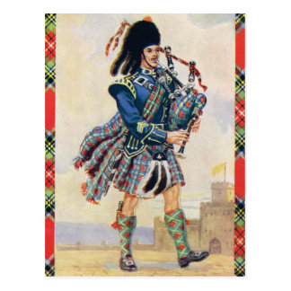 Scottish piper, the swing of the kilt postcard