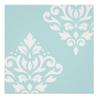 Scroll Damask Art I White on Duck Egg Blue