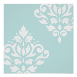 Scroll Damask Art I White on Duck Egg Blue Poster