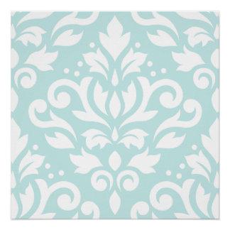 Scroll Damask Lg Design White on Duck Egg Blue
